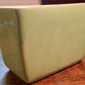 Vintage Mid Century McCoy Pottery Rectangular Planter - Gorgeous Pale Green Drip Color