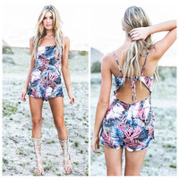 Tropical Print Strappy Cut-Out Romper