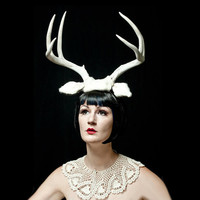 Deer Antler Headband  White Fawn Halloween Costume by doublespeak