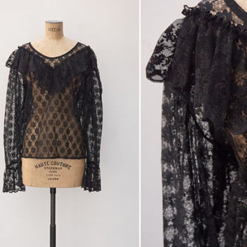 1970s Blouse - Vintage 70s Black Lace Blouse - Barroca Blouse