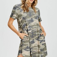 RESTOCKED! Camo Short Sleeve Dress