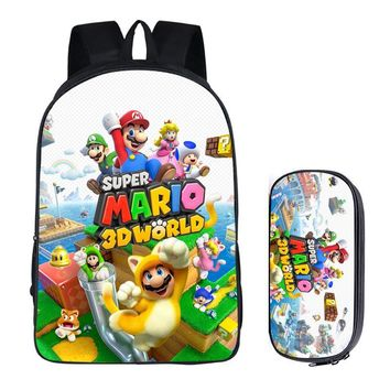Super Mario party nes switch 16inch  Bros Sonic Bags For Boys Batman Backpack Kids School Bags For Teenagers Children Backpacks Pencil Bag Sets AT_80_8