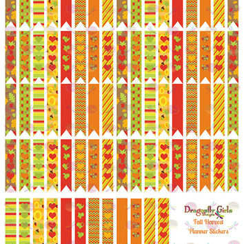 50% OFF Sale! DIY October Fall Harvest Printable Planner 80 Long Flags Stickers PDF and jpeg Erin Condren Life Planner Kikkik Filofax