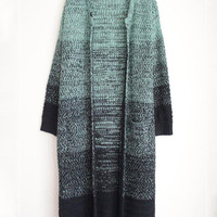 Gradient Print Long Sleeve Knitted Long Cardigan