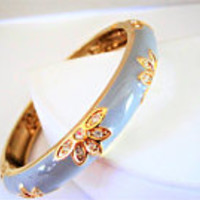 Enamel Hinged Bangle, Steel Blue on Gold, Rhinestone Enhanced Bracelet