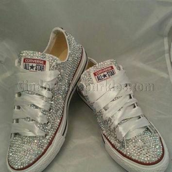 QIYIF sale white low ox glass and pearl crystal rhinestone converse bling sparkle bride we