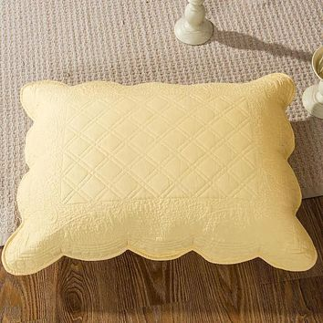 Tache Yellow Matelasse Buttercup Puffs Cotton Quilted Pillow Shams (YELLEMDES-Sham)
