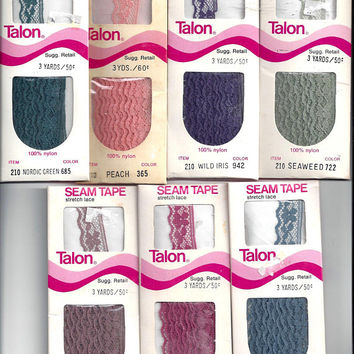 ONE, 1970s Vintage Package Stretch Lace Seam Tape by Talon, Nylon, 3 Yard Pkg, Several Colors, Vintage Sewing Notions Trim, Home Sewing