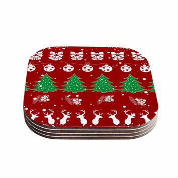 "Famenxt ""Christmas Vibes Red"" Red Green Illustration Coasters (Set of 4)"