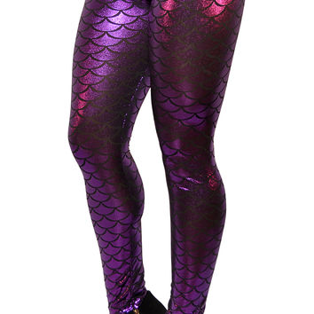 BadAssLeggings Women's Mermaid Leggings Small Purple