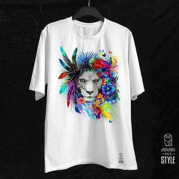 DeeStyle Watercolor Cool Lion Crew Neck Unisex T-Shirt White T shirt For Girls T shirt For Men
