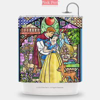 Snow White Disney Princess Stained Glass Shower Curtain Home & Living 222