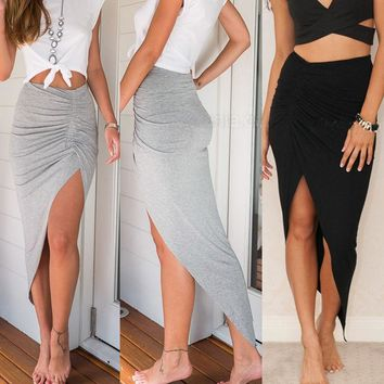 *Online Exclusive* Ruched Side Slit Maxi Skirt