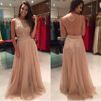 2017 Gorgeous Evening Dresses with Scoop Neckline Pearls Beaded Floor Length Sleeveless Party Gowns Prom dress WJT