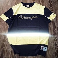Champion retro stitching Three Stripes 3M reflective couple casual cotton t-shirt Navy blue / yellow
