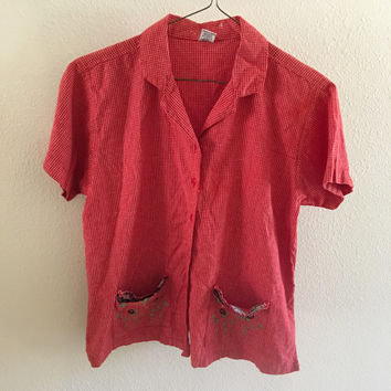 Red Flannel Shirt Flower Pockets Vintage L