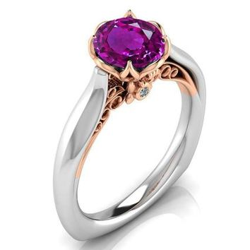 2 Tone Amethyst Engagement Ring Milgrain Solitaire Ring 18K Solid Gold Contour Filigree Vintage Style