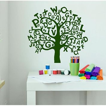 Vinyl Wall Decal Cartoon Tree Alphabets Letters For Kids Room Stickers (2953ig)