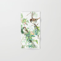 Sparrows And Apple Blossom Hand & Bath Towel by sureart