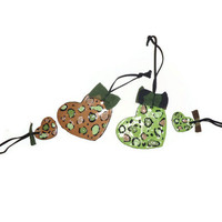 Set of Four Hand Sculpted Clay Cheetah Print Heart Ornaments