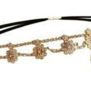 Europe And The United States New Jewelry Jewelry Inlaid Bohemian Forehead Pearl Rhinestone Flower Hair Band