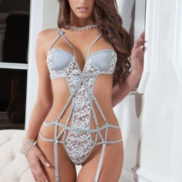G World Intimates 2Pc Strappy Chantilly Teddy & Stockings