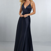 Sexy Satin Bridesmaids Dress with Deep V-Neckline and Strappy Back | Style 21573 | Morilee