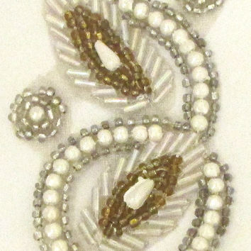 "Designer Motif with Gold and Silver and White Beads 2.5"" x 2"""
