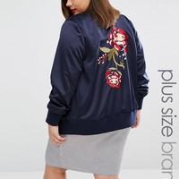 Alice & You | Alice & You Oversized Rose Embroidered Bomber Jacket at ASOS