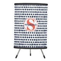 Blue and White Polka Dot Pattern | Red Monogram Tripod Lamp