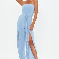 Missguided - Blue Bandeau Split Leg Jumpsuit