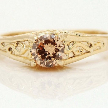 Sparkling 10k Yellow Gold Filled Women Citrine Jewelry Ring