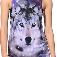 See You Monday Galaxy Wolf Black Mesh Back Muscle Tank Top