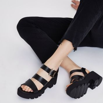 Black chunky sandals - Sandals - Shoes & Boots - women