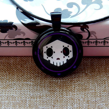 Overwatch sombra logo pendant necklace jewelry, Virus skin skull logo, Men's jewelry, video game sombra overwatch, Overwatch Fan Art simbol