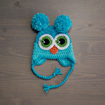 Crochet Blue Owl Hat, Baby Owl Hat, Crochet Baby Hat, Crocheted Baby Hat, Newborn Photography Prop, Baby Shower Gift, Crochet Owl Hat