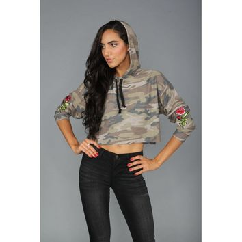 Floral Embroidered Camo Cropped Hoodie