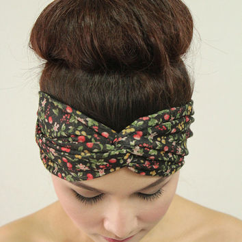Retro Style Twist Headband Flower Fashion Turban , Black Color