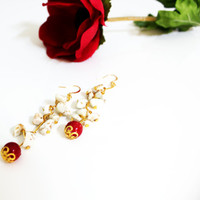 Hanging earrings - Modern white, gold and red earrings, Unique hanging earrings, Cute earrings, Romantic formal earrings, Elegant