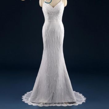 V Neck Sheath Wedding Dress Lace Pearls  Wedding Gowns