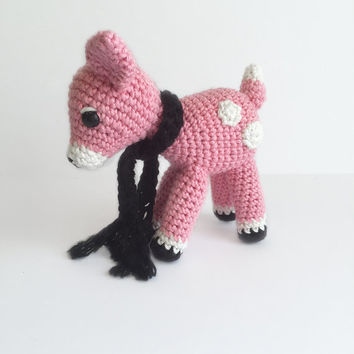 Crochet Blush Pink colored Deer with Black Scarf, Crochet Deer, Crochet Doe, Crochet Animal, Crochet Doll, Woodland Animal, Crochet Fawn
