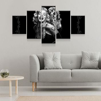 Marilyn Monroe Smile Now Cry Later 5-Piece Wall Art Canvas