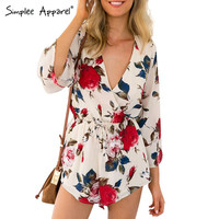 Boho red floral print elegant jumpsuit romper Summer style sexy v neck women playsuit Beach chiffon overalls