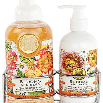 Michel Design Works Foaming Hand Soap and Lotion Caddy Gift Set, Blooms and Bees