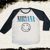 Size M -- GALAXY NIRVANA Shirts Alternative Rock Tee Shirts Jersey Tee Baseball Tee Raglan Tee Long Sleeve Unisex Shirts Women Shirts