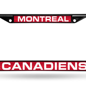 NHL Montreal Canadiens Black Laser Cut Chrome License Plate Frame
