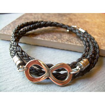 Infinity Stainless Steel and Leather Bracelet, Infinity Bracelet, Triple Wrap, Mens Bracelet, Womens Bracelet,Mens Jewelry, Infinity Jewelry