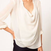 White V-neck Long Sleeve Ruched Blouse
