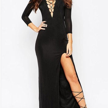 Black V-Neck Lace Up Split Dress