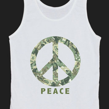 PEACE Plastic Toy Soldiers Tank Top Women Tops White Tee Shirt Tank Tops Size XS, S, M, L